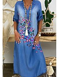 Χαμηλού Κόστους -Γυναικεία Φορέματα τζιν Μακρύ φόρεμα - 3/4 Μήκος Μανικιού Φλοράλ Καλοκαίρι Καθημερινό Καθημερινά 2020 Θαλασσί M L XL XXL XXXL