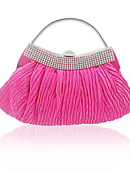 cheap -Women's Girls' Bags Silk Evening Bag Buttons Crystals Wedding Bags Wedding Party Event / Party Fuchsia