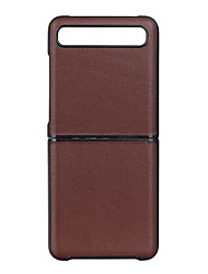 cheap -Case For Samsung Galaxy Galaxy Z Flip Ultra-thin Back Cover Solid Colored Genuine Leather / TPU