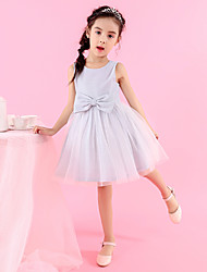 cheap -Princess / Ball Gown Medium Length Event / Party / Birthday Flower Girl Dresses - Tulle / Velvet Chiffon Cap Sleeve Jewel Neck with Bow(s) / Side Draping / Solid