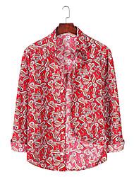 זול -בגדי ריקוד גברים גראפי עלה טרופי דפוס חולצה הוואי ליציאה פוקסיה / כחול נייבי