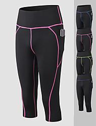 cheap -YUERLIAN Women's High Waist Yoga Pants Side Pockets Capri Leggings Tummy Control Butt Lift 4 Way Stretch Purple Blue Fuchsia Spandex Fitness Gym Workout Running Sports Activewear High Elasticity Slim