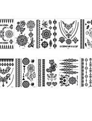 cheap -6 Sheets Randomly tattoo designs Temporary Tattoos Henna Tattoo Stickers Lace Mehndi Temporary Tattoos for Maverick Women Teens Girls YHB01-08