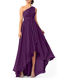 cheap -A-Line One Shoulder Asymmetrical Chiffon Bridesmaid Dress with Pleats