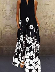 cheap -Women's Maxi long Dress Black Sleeveless Floral Print Summer V Neck Hot Casual 2021 S M L XL XXL 3XL 4XL 5XL