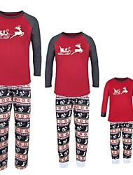 cheap -2 Piece Family Look Active Vintage Deer Geometric Color Block Animal Print Long Sleeve Regular Maxi Clothing Set Red