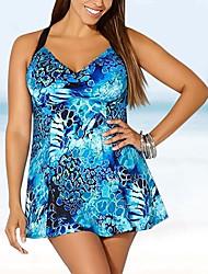 cheap -Women's Bikini Swimwear Swimsuit - Geometric XL XXL XXXL Blue