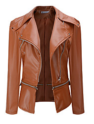 cheap -Women's Faux Leather Jacket Regular Solid Colored Work Black Brown S M L XL