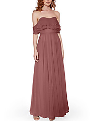 cheap -A-Line Strapless Floor Length Chiffon Bridesmaid Dress with Pleats / Ruffles