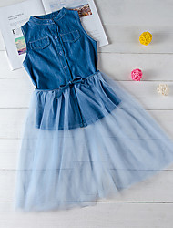 cheap -Kids Toddler Girls' Active Cute Blue Solid Colored Bow Sleeveless Knee-length Dress Blue