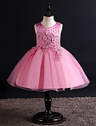 cheap -Princess / Ball Gown Knee Length Party / Wedding Flower Girl Dresses - Tulle Sleeveless Jewel Neck with Bow(s) / Beading / Appliques