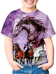 cheap -Kids Girls' Basic Horse Animal Print Short Sleeve Tee Purple
