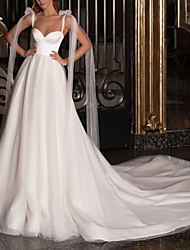 cheap -A-Line Wedding Dresses V Neck Spaghetti Strap Sweep / Brush Train Satin Tulle Sleeveless Simple with Bow(s) 2020