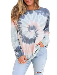 cheap -Women's Sweatshirt Tie Dye Casual Hoodies Sweatshirts  Cotton Loose Blue Brown Rainbow