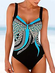 cheap -Women's printing High Cut Low Back One Piece Swimwear Bathing Suits