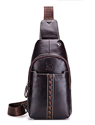 cheap -Men's Bags Nappa Leather Sling Shoulder Bag Chest Bag Zipper Holiday Outdoor Dark Coffee