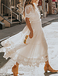 cheap -Women's Swing Dress Maxi long Dress White Short Sleeve Solid Color Lace Summer V Neck Hot Holiday Boho 2021 S M L XL