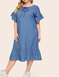 cheap -Women's A-Line Dress Midi Dress - Short Sleeve Solid Color Summer Plus Size Casual Loose 2020 Blue XL XXL 3XL 4XL