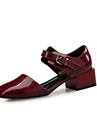 cheap -Women's Sandals Spring Fall Block Heel Square Toe Office & Career Home Patent Leather Wine / Black / Green