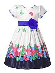 cheap -Toddler Girls' Flower Sweet Butterfly Jacquard Pleated Short Sleeve Knee-length Dress Blue