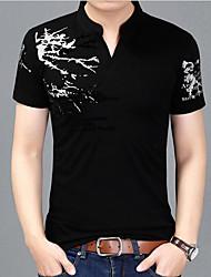 זול -בגדי ריקוד גברים פרחוני דפוס טישרט בסיסי אלגנטית יומי עבודה יין / שחור / אפור