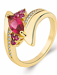 cheap -Women's Ring AAA Cubic Zirconia 1pc Gold-Red Purple Gold / Blue Platinum Plated Alloy Stylish Party Gift Jewelry Cute