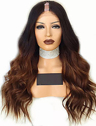 cheap -Remy Human Hair Wig Long Body Wave U Part Multi-color Ombre Hair African American Wig U Part Brazilian Hair Women's Black / Medium Browm 8 inch 10 inch 12 inch