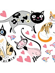 billige -nye kat og fugl hjerte pvc vægklistermærker børn soveværelse skabe tegneserie dyr klistermærker