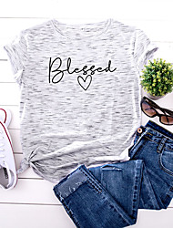 cheap -Women's T shirt Graphic Text Letter Print Round Neck Tops 100% Cotton Basic Basic Top White Yellow Blushing Pink