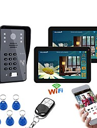 cheap -9 Inch 2 Monitors Wired / Wireless Wifi RFID Password Video Door Phone Doorbell Intercom System With IR-CUT 1000TVL Camera
