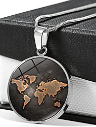 cheap -Women's Pendant Necklace Handmade Maps Vintage Steampunk Glass Alloy Silver 51-80 cm Necklace Jewelry For Gift Festival