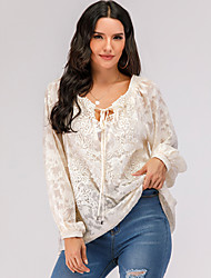 cheap -Women's T-shirt Solid Colored Long Sleeve Lace Embroidery Hollow Out V Neck Tops Lace Basic Top Beige