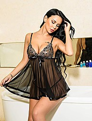 cheap -Women's Lace Sequins Bow Babydoll & Slips Suits Nightwear Jacquard Embroidered White / Black / Blue S M L