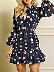 cheap -Women's A-Line Dress Knee Length Dress - Long Sleeve Print Ruffle Patchwork Zipper Spring Summer Casual Hot Lantern Sleeve Slim 2020 Black Blue S M L XL XXL