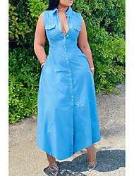 Χαμηλού Κόστους -Γυναικεία Φορέματα τζιν Μακρύ φόρεμα - Αμάνικο Συμπαγές Χρώμα Καλοκαίρι Καθημερινό Καθημερινά 2020 Θαλασσί M L XL XXL XXXL