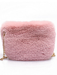cheap -Women's Chain Faux Fur Crossbody Bag Fur Bag Solid Color White / Black / Blushing Pink