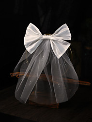 cheap -One-tier Stylish / Sweet Style Wedding Veil Shoulder Veils with Faux Pearl / Satin Bow Tulle
