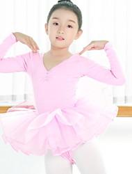 olcso -Balett Akrobatatrikó / Egyrészes Fodrozott Lány Edzés Hétköznapi viselet Hosszú ujj Pamut