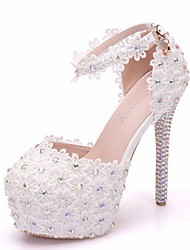 cheap -Women's Sandals Summer Stiletto Heel Peep Toe Daily Solid Colored PU White