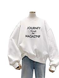 cheap -Women's Sweatshirt Letter Casual Hoodies Sweatshirts  Cotton Loose White Blue Purple