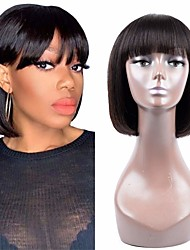 cheap -Remy Human Hair Wig Short Straight Bob Natural Black Party Women Easy dressing Machine Made Capless Brazilian Hair Malaysian Hair Women's Girls' Natural Black 12 inch