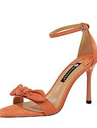 cheap -Women's Sandals Summer Stiletto Heel Open Toe Daily Solid Colored PU Almond / Black / Orange