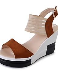 cheap -Women's Sandals Summer Wedge Heel Open Toe Daily PU Black / Yellow / Brown