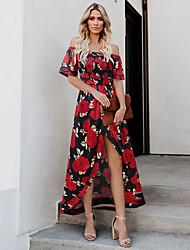 رخيصةأون -نسائي فستان سوينج فستان طويل - كم قصير ورد الصيف مومو 2020 أسود أحمر فوشيا أزرق البحرية S M L XL
