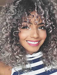 cheap -Synthetic Wig Afro Curly With Bangs Wig Long Silver grey Synthetic Hair 16 inch Women's Highlighted / Balayage Hair Exquisite Waterfall Silver