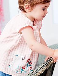 baratos -Infantil Para Meninas Básico Floral Manga Curta Conjunto Rosa