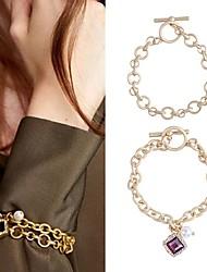 cheap -2pcs Women's Bracelet Geometrical Precious Fashion Alloy Bracelet Jewelry Gold For Street