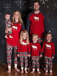 cheap -Family Look Family Matching Outfits 2 Piece Clothing Set Deer Color Block Geometric Animal Long Sleeve Print Red Green Christmas Active Vintage
