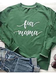 cheap -Women's Sweatshirt Graphic Letter Casual Basic Hoodies Sweatshirts  Cotton Slim Wine White Black