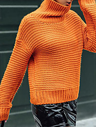cheap -Women's Solid Colored Long Sleeve Pullover Sweater Jumper, Turtleneck Fall / Winter Orange S / M / L